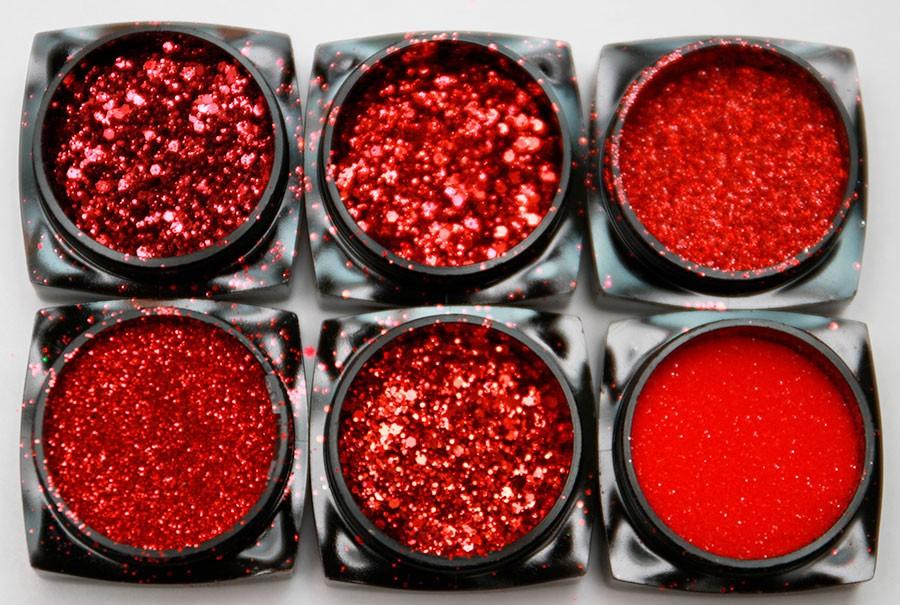 Красные блестки ногти